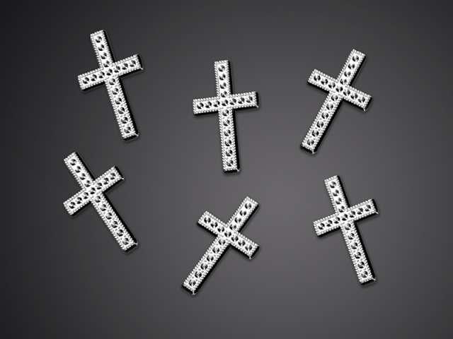 Aplikacje Krzyż srebrny 27 mm 1 op