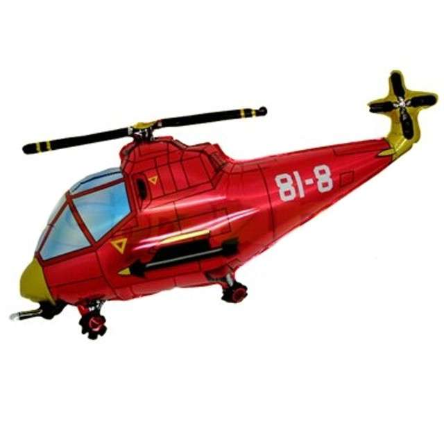 """Balon foliowy """"Helikopter"""", czerwony, FLEXMETAL, 17"""" SHP"""