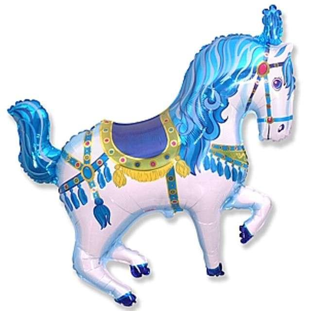 """Balon foliowy """"Koń cyrkowy"""", niebieski, FLEXMETAL, 15"""" SHP"""