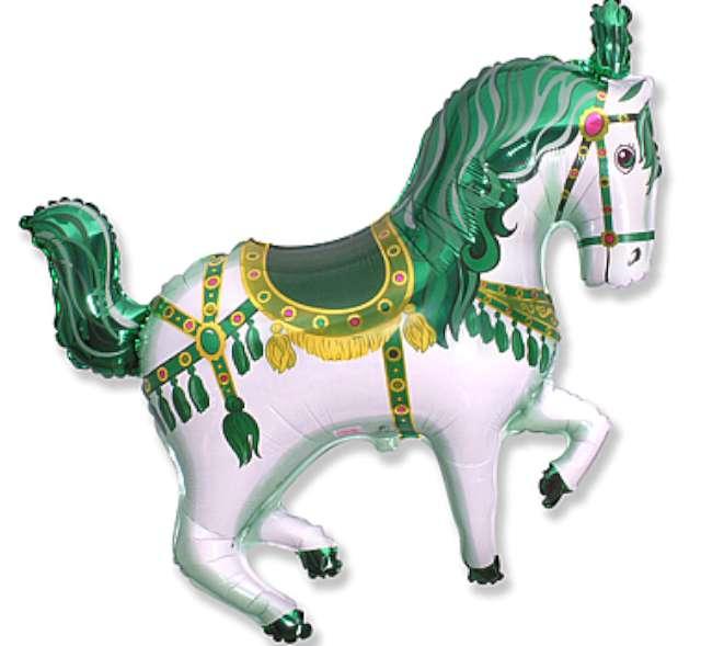 """Balon foliowy """"Koń cyrkowy"""", zielony, FLEXMETAL, 15"""" SHP"""