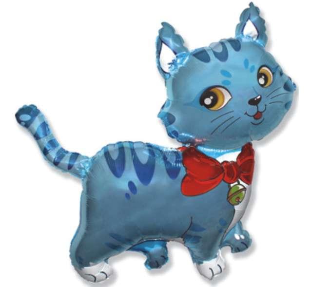 """Balon foliowy 14"""" Kotek niebieski"""