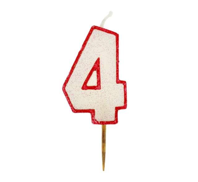 """Świeczka cyferka z brokatem, czerwony kontur """"4"""","""