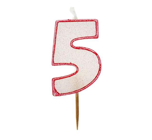 """Świeczka cyferka z brokatem, czerwony kontur """"5"""","""