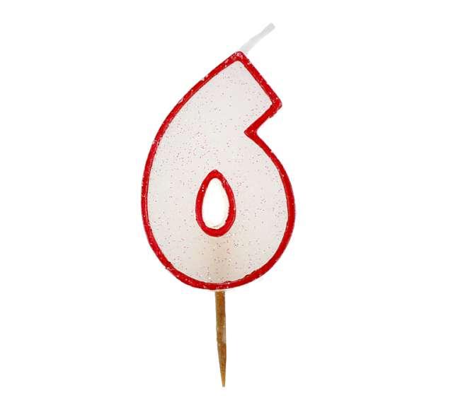 """Świeczka cyferka z brokatem, czerwony kontur """"6"""","""