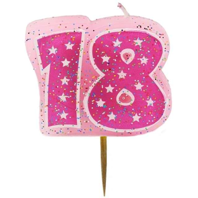 """Świeczka na tort """"18"""", GODAN, różowa, 6 cm"""