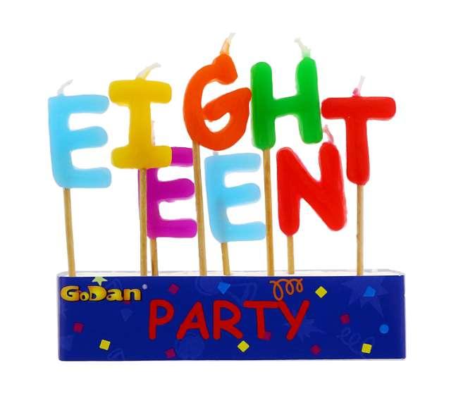 """Świeczki na tort """"18 Urodziny - Eighteen"""", GODAN, 8 szt"""