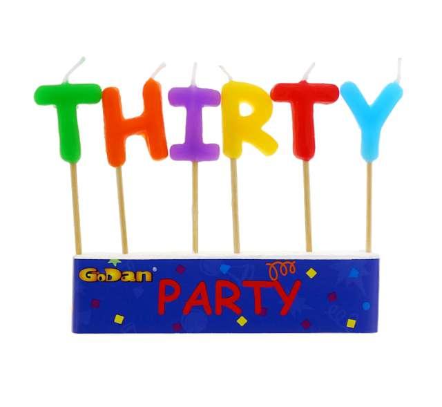 """Świeczki na tort """"30 Urodziny - Thirty"""", GODAN, 6 szt"""