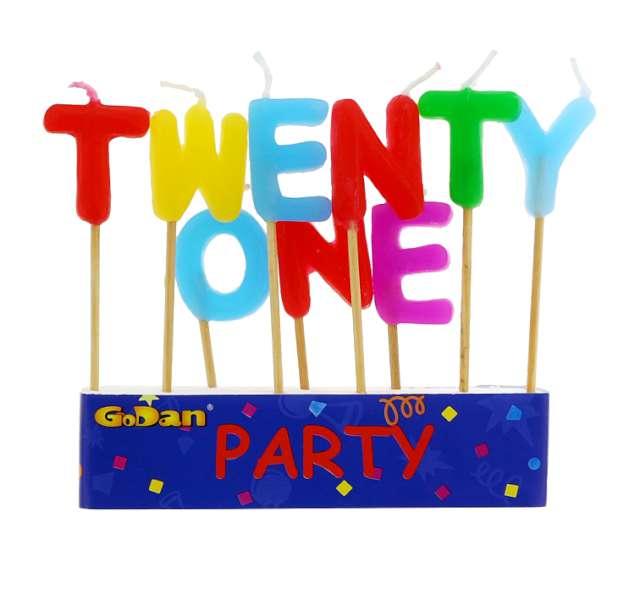 """Świeczki na tort """"21 Urodziny - Twenty One"""", GODAN, 9 szt"""