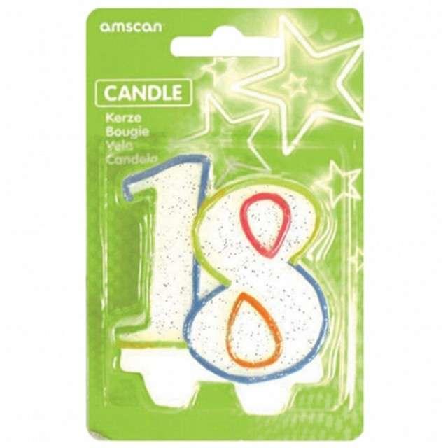 """Świeczka na tort """"18"""", AMSCAN, tęczowa brokatowa, 6 cm"""