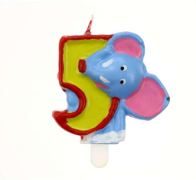 """Świeczka cyferka """"5"""" ZOO słoń"""