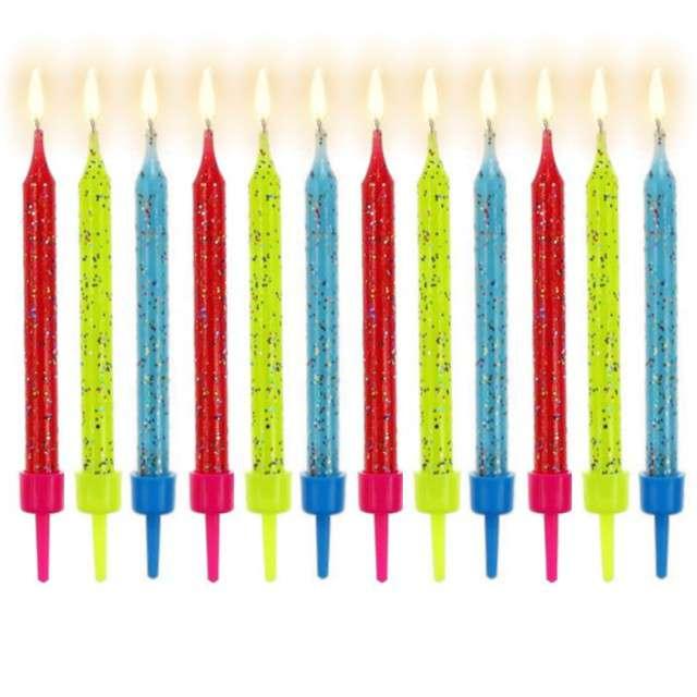 Świeczki urodzinowe brokatowe, 12 szt