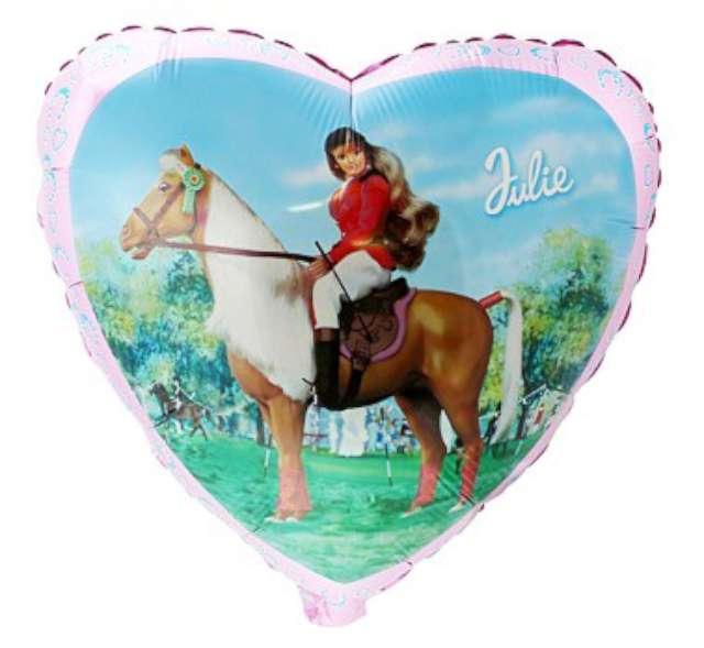 "Balon foliowy 18"" Julia na koniu, serce"