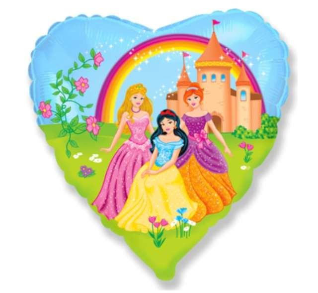 """Balon foliowy 18"""" - Księżniczki i zamek"""