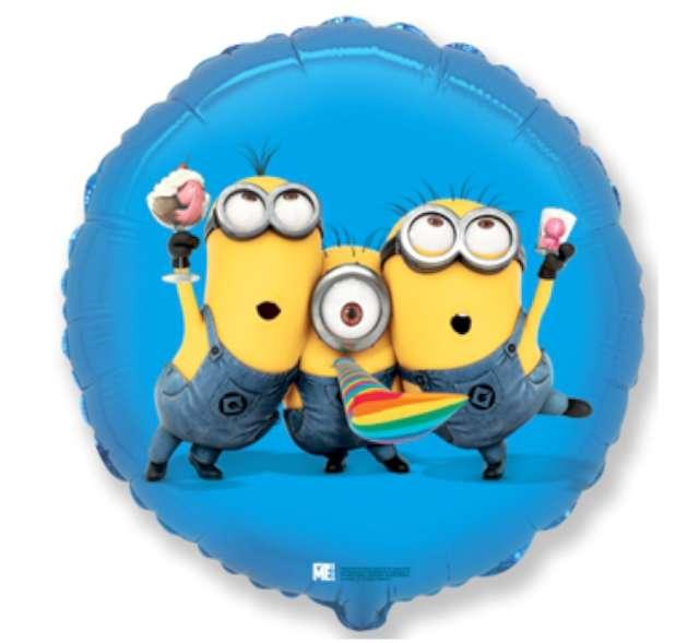 """Balon foliowy 18"""" Minions Party okrągły"""