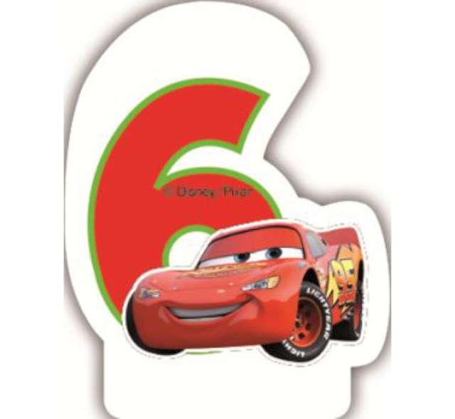 """Świeczka na tort """"CARS Neon Cyfra 6"""", PROCOS, 6 cm"""