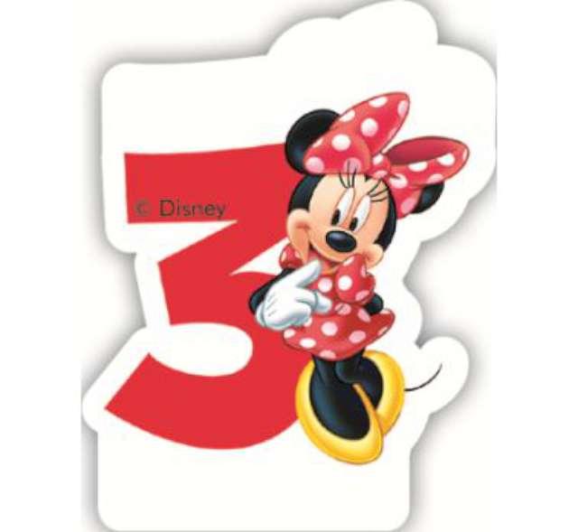 """Świeczka na tort """"Myszka Minnie Cyfra 3"""", PROCOS, 6 cm"""