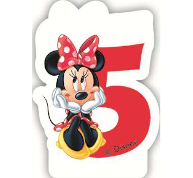 """Świeczka na tort """"Myszka Minnie Cyfra 5"""", PROCOS, 6 cm"""
