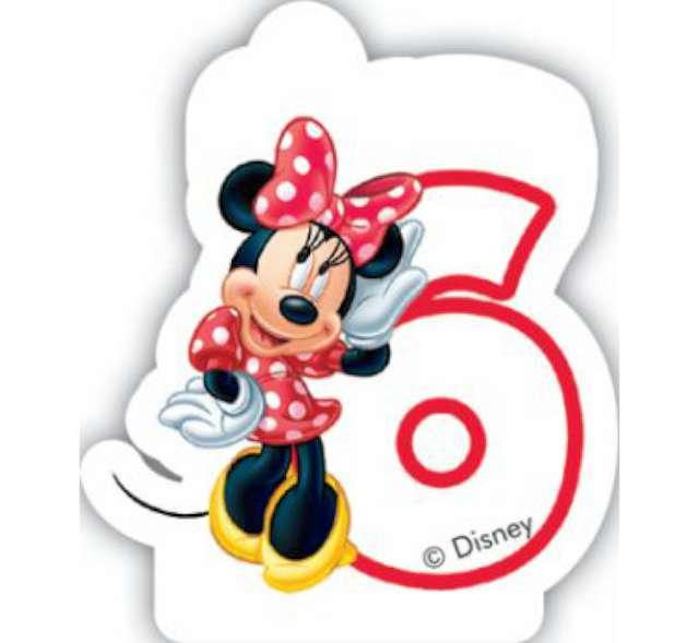 """Świeczka na tort """"Myszka Minnie Cyfra 6"""", PROCOS, 6 cm"""