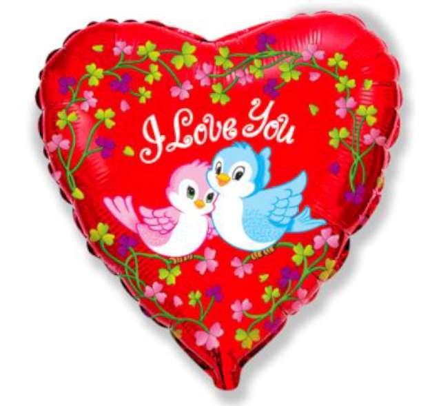 "Balon foliowy 18""- Ptaszki I love you"