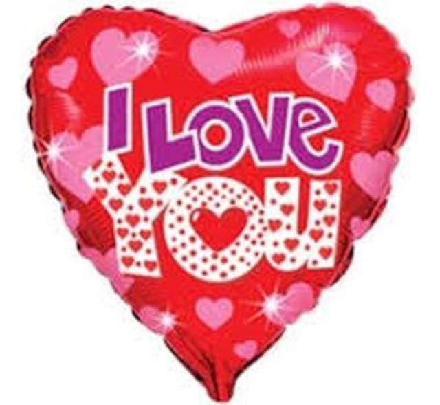 """Balon foliowy 18""""- I Love You z  serduszkami"""