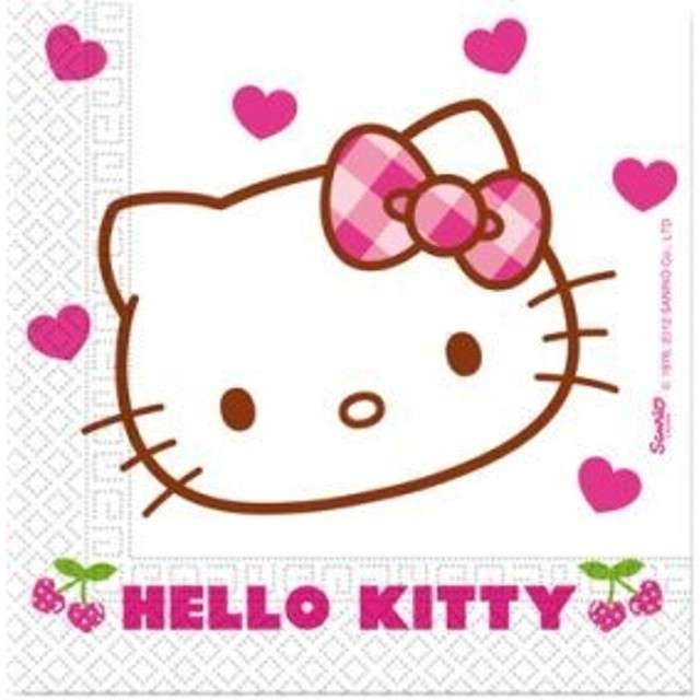 "Serwetki 33 cm, ""Hello Kitty"", serduszka, 20 szt"