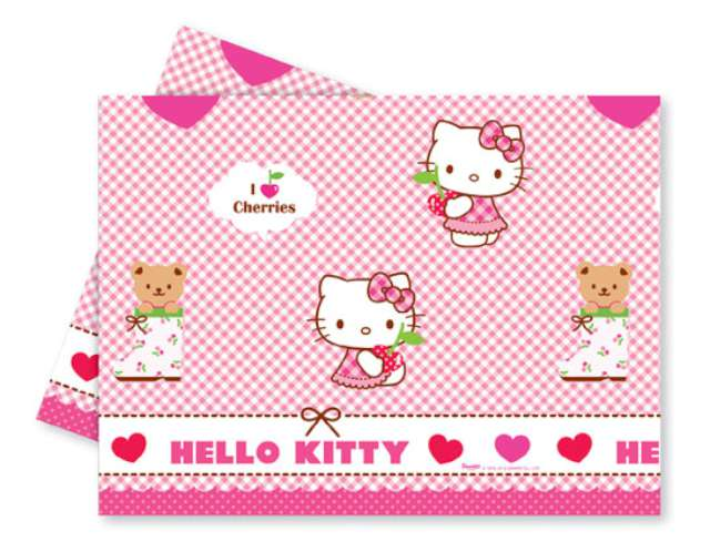 "Obrus foliowy ""Hello Kitty"", hearts, 120x180 cm"