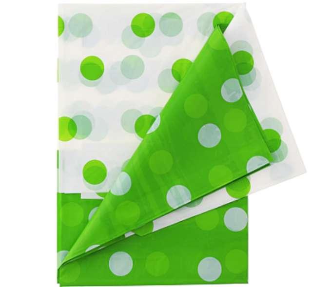 Obrus foliowy w grochy, zielony, 128x181 cm