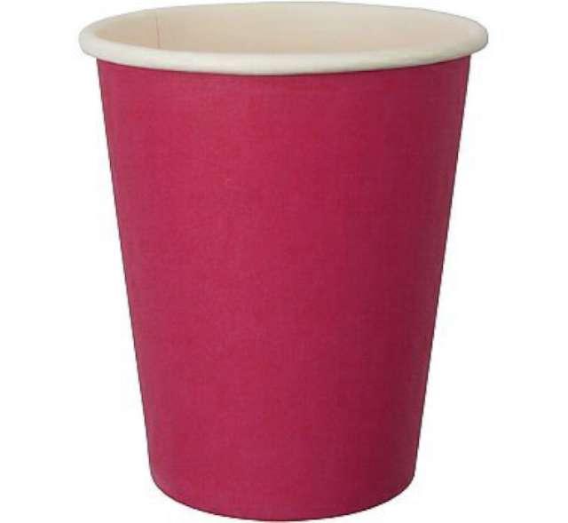 Kubeczki papierowe 250 ml, różowe, 6 szt
