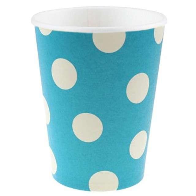 """Kubeczki papierowe 270 ml, """"Groszki"""", błękitne, 6 szt"""