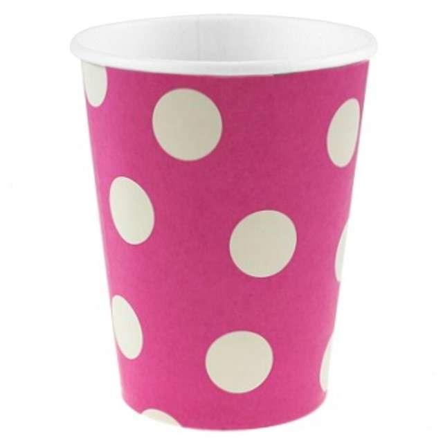 """Kubeczki papierowe 270 ml, """"Groszki"""", różowe, 6 szt"""
