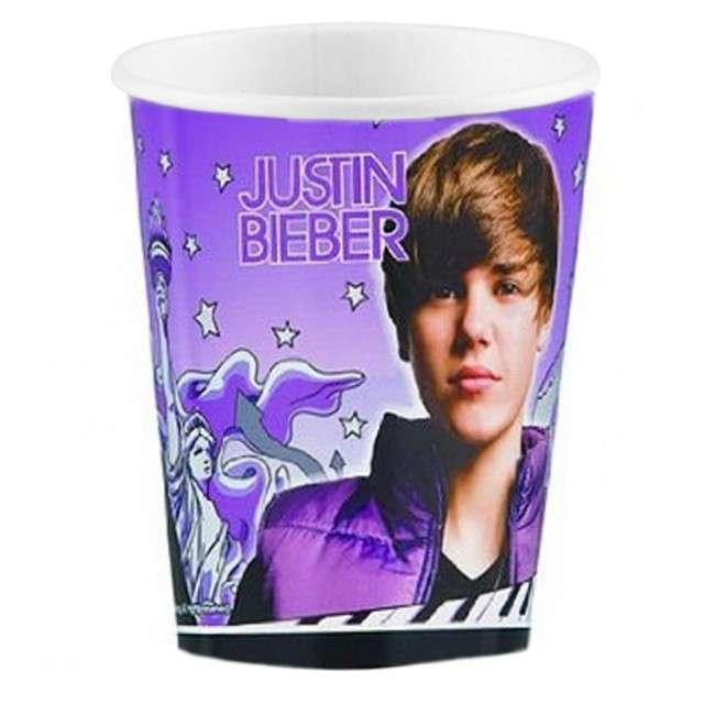 """Kubeczki papierowe 266 ml, """"Justin Bieber"""", 8 szt"""
