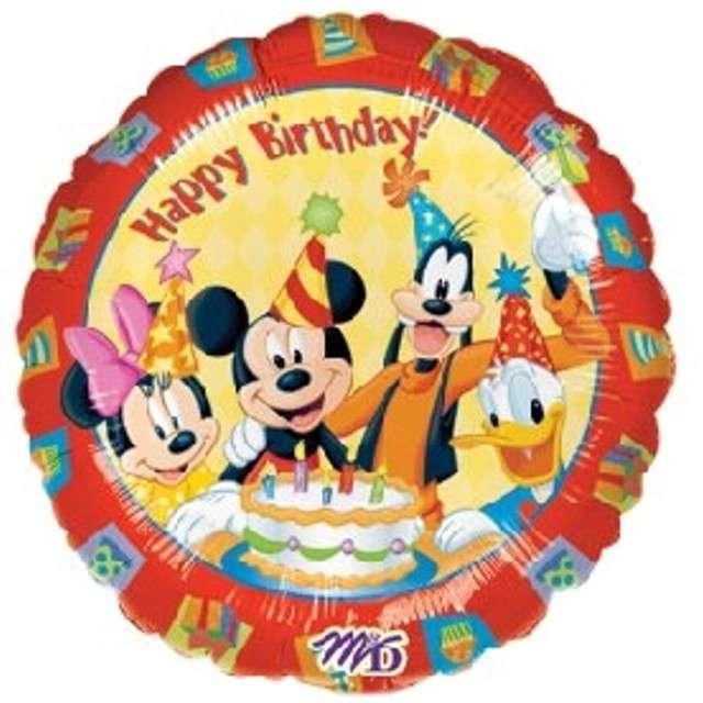 """Balon foliowy """"Happy Birthday Mickey i Przyjaciele"""", AMSCAN, 18"""" CIR"""