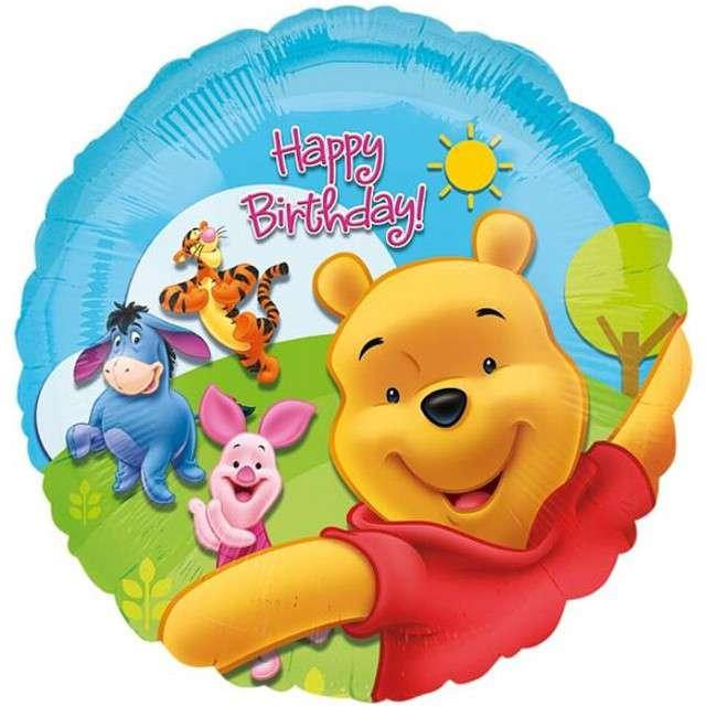 "Balon foliowy ""Kubuś Puchatek Happy Birthday"", AMSCAN, 18"" RND"