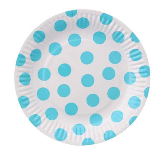 """Talerzyki papierowe """"Groszki"""", błękitne, 18 cm, 6 szt"""