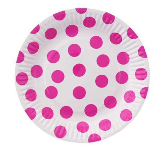 """Talerzyki papierowe """"Groszki"""", różowe, 18 cm, 6 szt"""