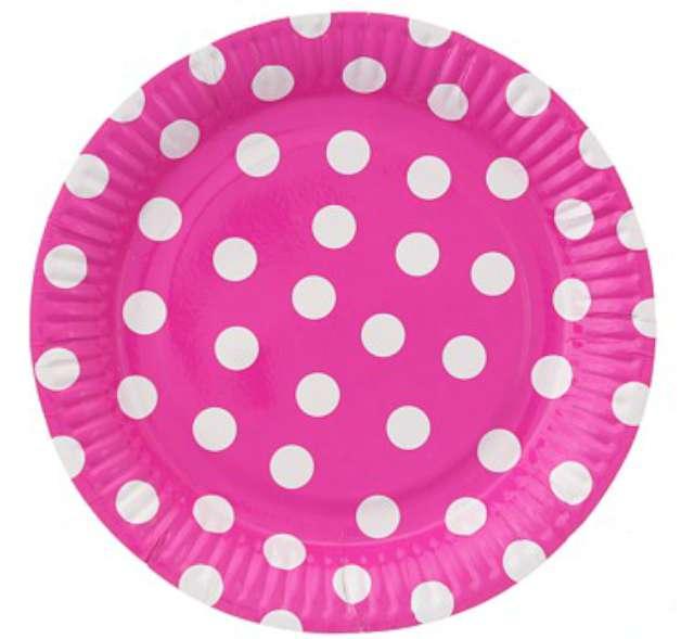 """Talerzyki papierowe """"Groszki"""", różowe, 23 cm, 6 szt"""