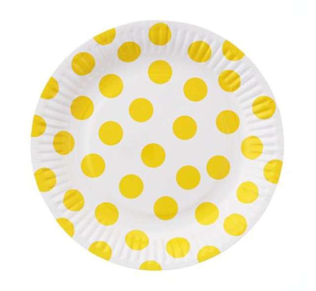 """Talerzyki papierowe """"Groszki"""", żółte, 18 cm, 6 szt"""