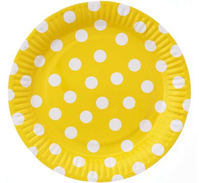"""Talerzyki papierowe """"Groszki"""", żółte, 23 cm, 6 szt"""