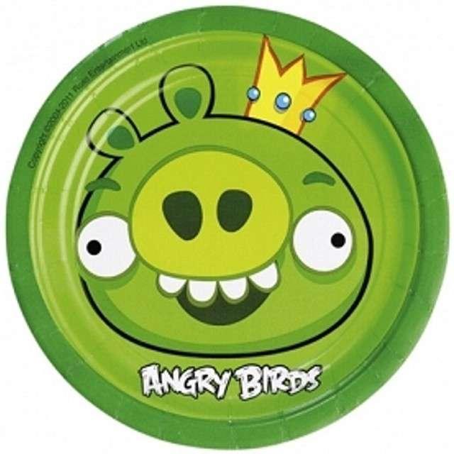 """Talerzyki papierowe """"Angry Birds"""", 18 cm, zielone, 8 szt"""