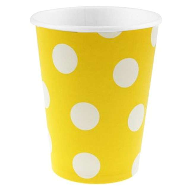 """Kubeczki papierowe 270 ml, """"Groszki"""", żółte, 6 szt"""