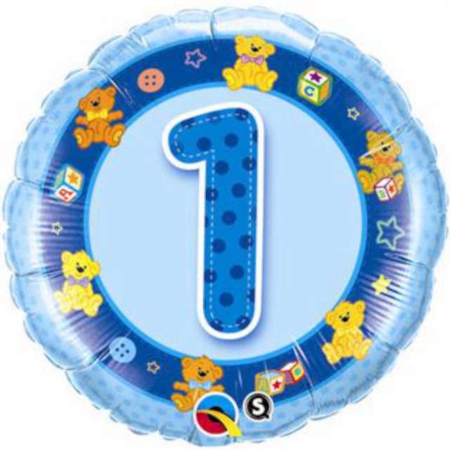 """Balon foliowy """"Urodziny  1"""", Blue Teddies, QUALATEX, 18"""" RND"""
