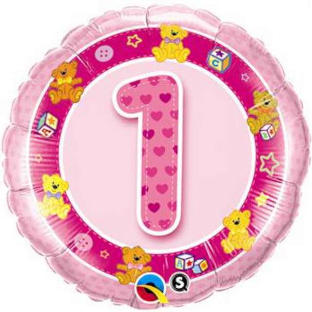 """Balon foliowy 18"""" okrągły cyfra 1, różowy"""