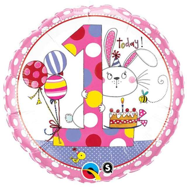 """Balon foliowy 18"""" 1 dla dziewczynki okrągły"""