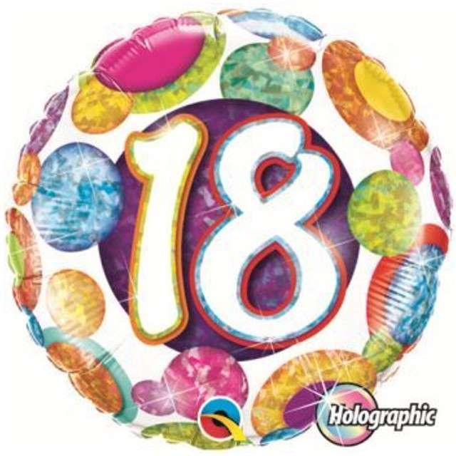 """Balon foliowy 18"""" 18 urodziny holo grochy"""