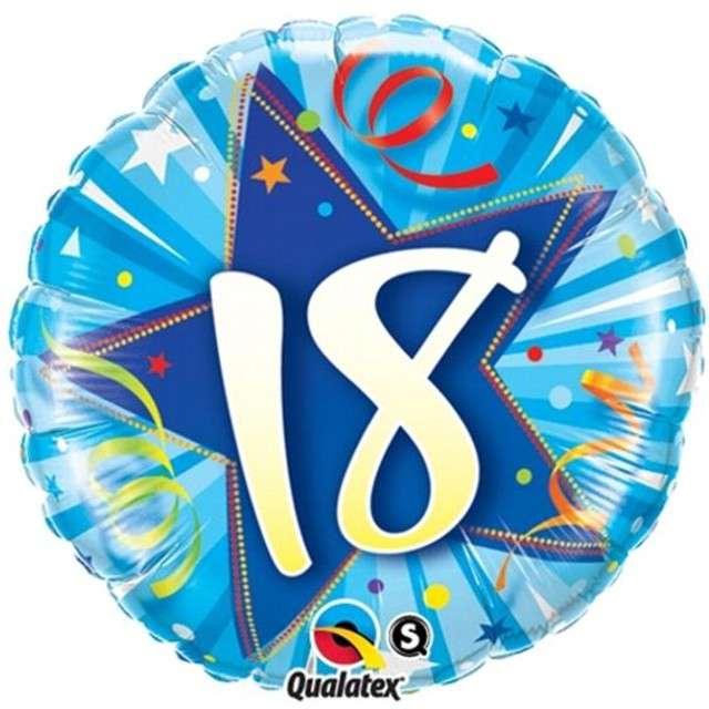 """Balon foliowy 18"""" 18 urodziny niebieski"""