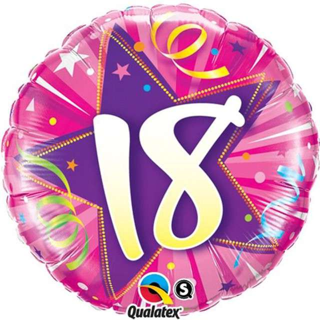 """Balon foliowy 18"""" 18 urodziny różowy"""