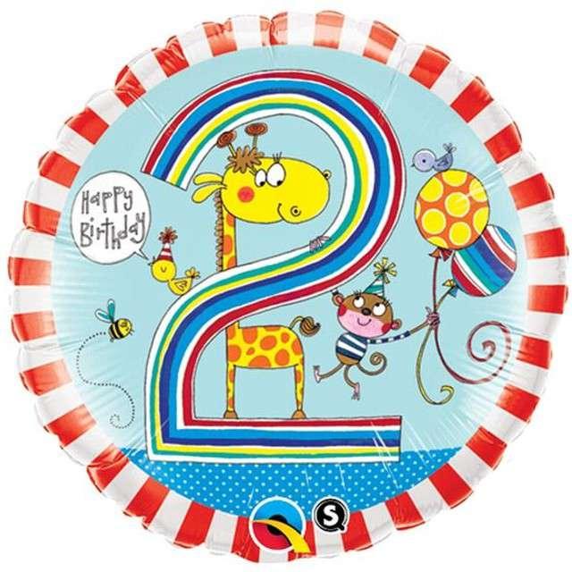 """Balon foliowy 18"""" 2 dla chłopca okrągły"""