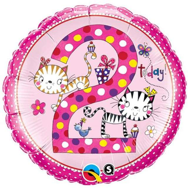 """Balon foliowy 18"""" 2 dla dziewczynki okrągły"""