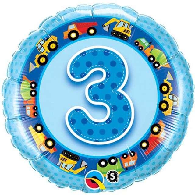 Balon foliowy 3 urodziny niebieski QUALATEX 18 RND