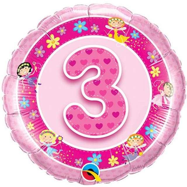 """Balon foliowy 18"""" - 3 urodziny, z obrazkami, różowy"""
